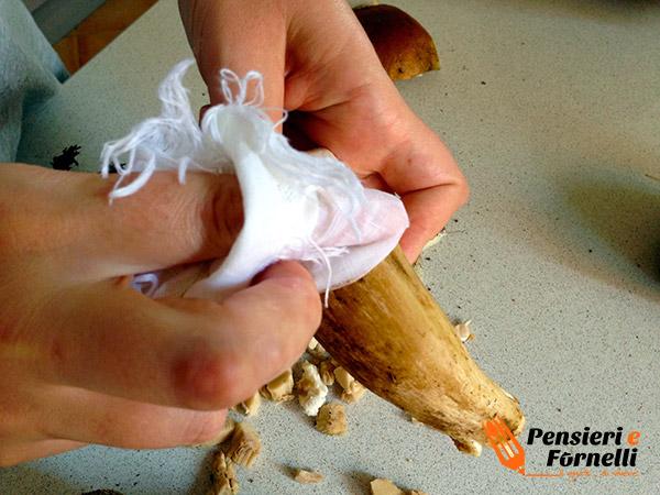pulire con un panno umido il gambo dei porcini