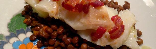 Baccalà in oliocottura con lenticchie