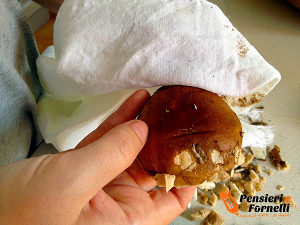 pulire con un panno umido la parte superiore del fungo porcino