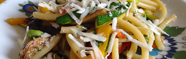 Mezzanelli con verdure grigliate e pecorino
