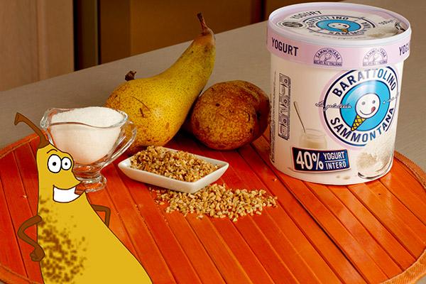 cannolo di croccante alle nocciole con gelato allo yogurt e pere spadellate